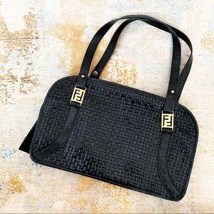 Rare Vintage Black Woven Leather FENDI Handbag